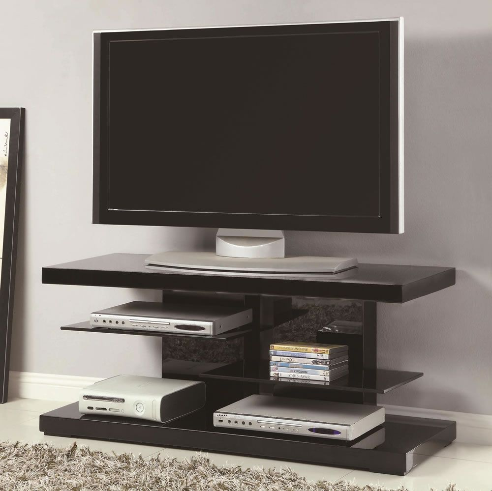 coaster furniture modern tv stand with alternating glass shelves. small modern tv stand with open glass shelves in black