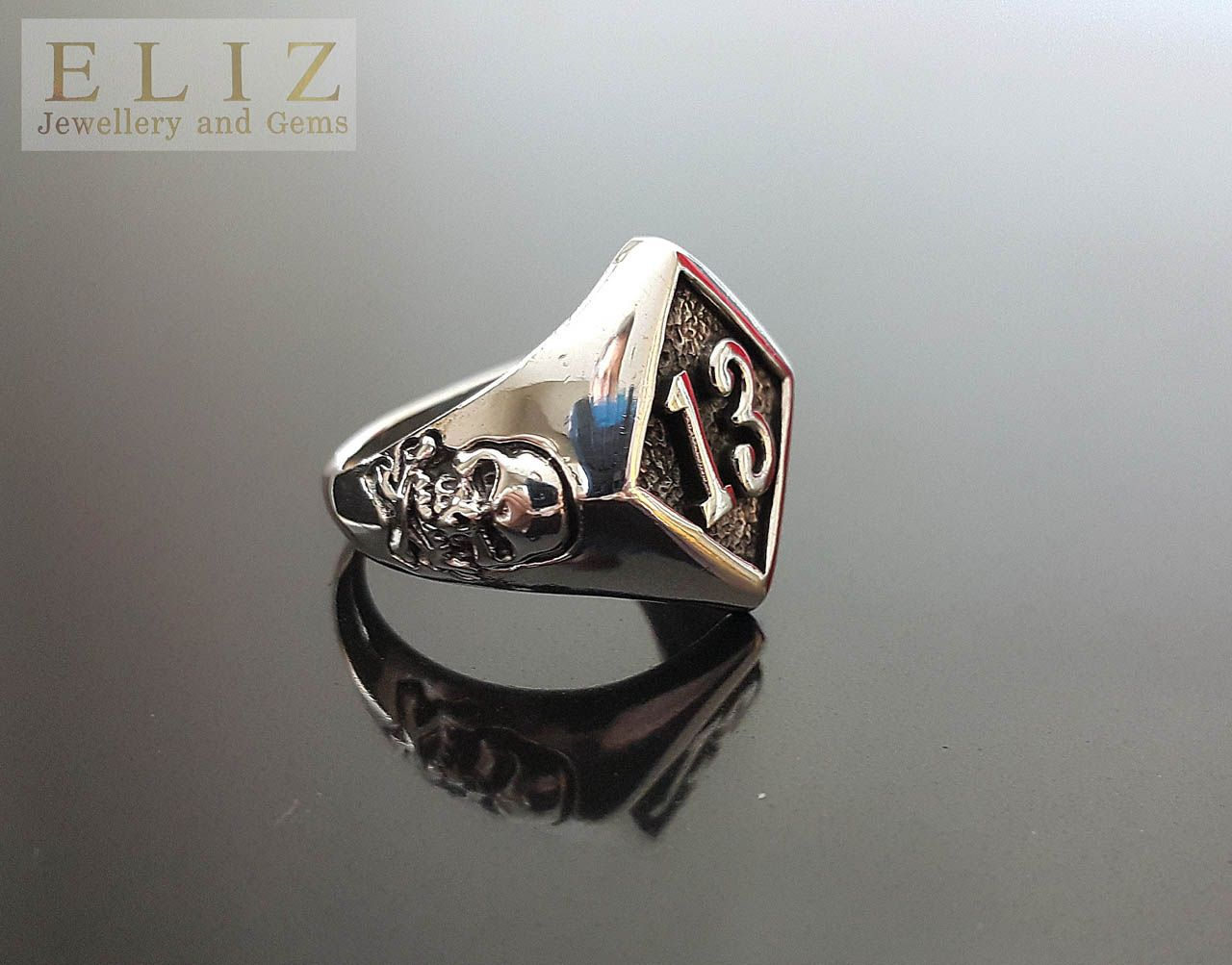 Sterling Silver 925 Ring Lucky Number 13 With Skull And Bones Biker Exclusive Punk Rock Goth Eliz In 2020 Sterling Silver Skull Rings Punk Jewelry Silver Skull Ring