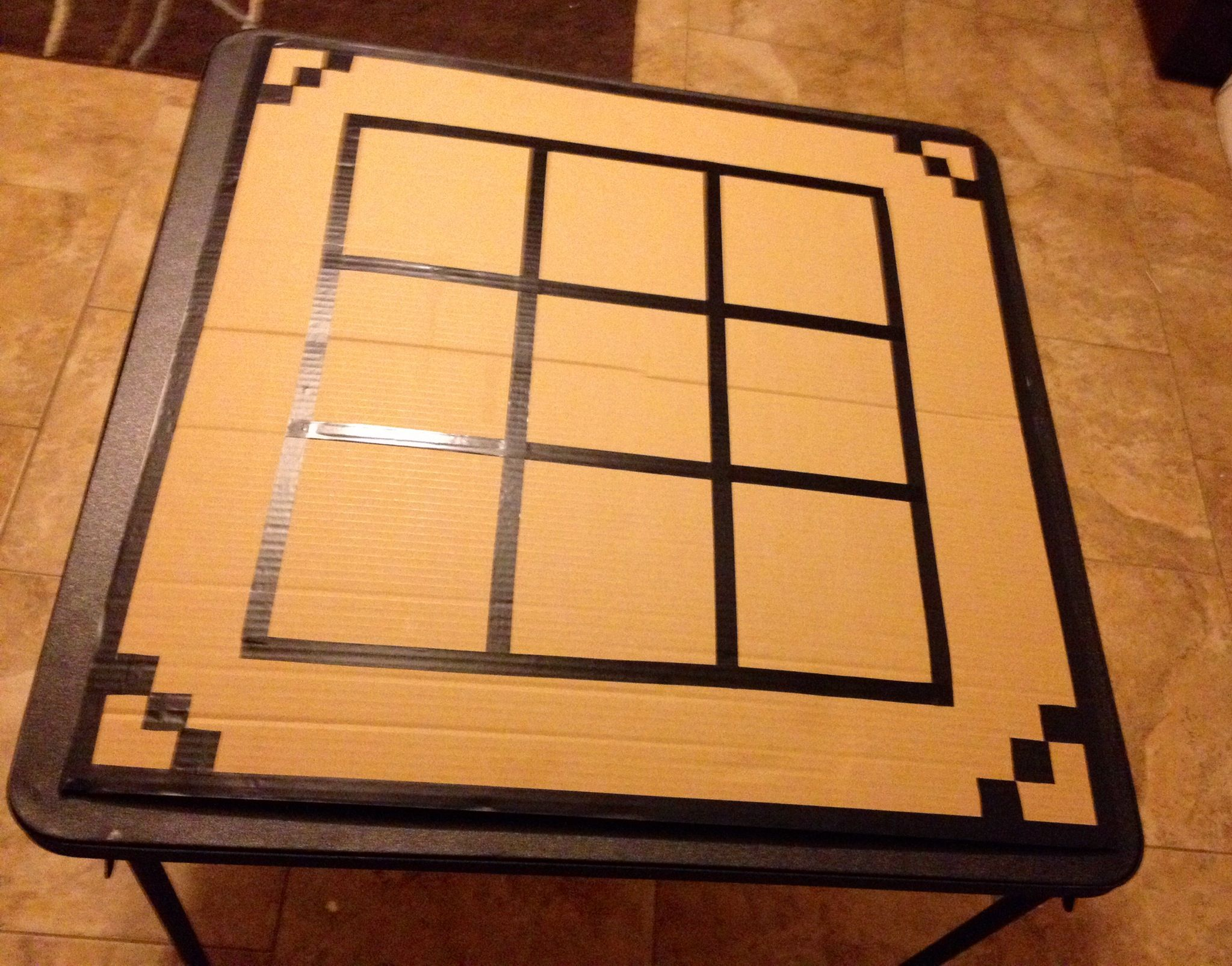 Diy Minecraft Crafting Table Using A Piece Of Cardboard And Some