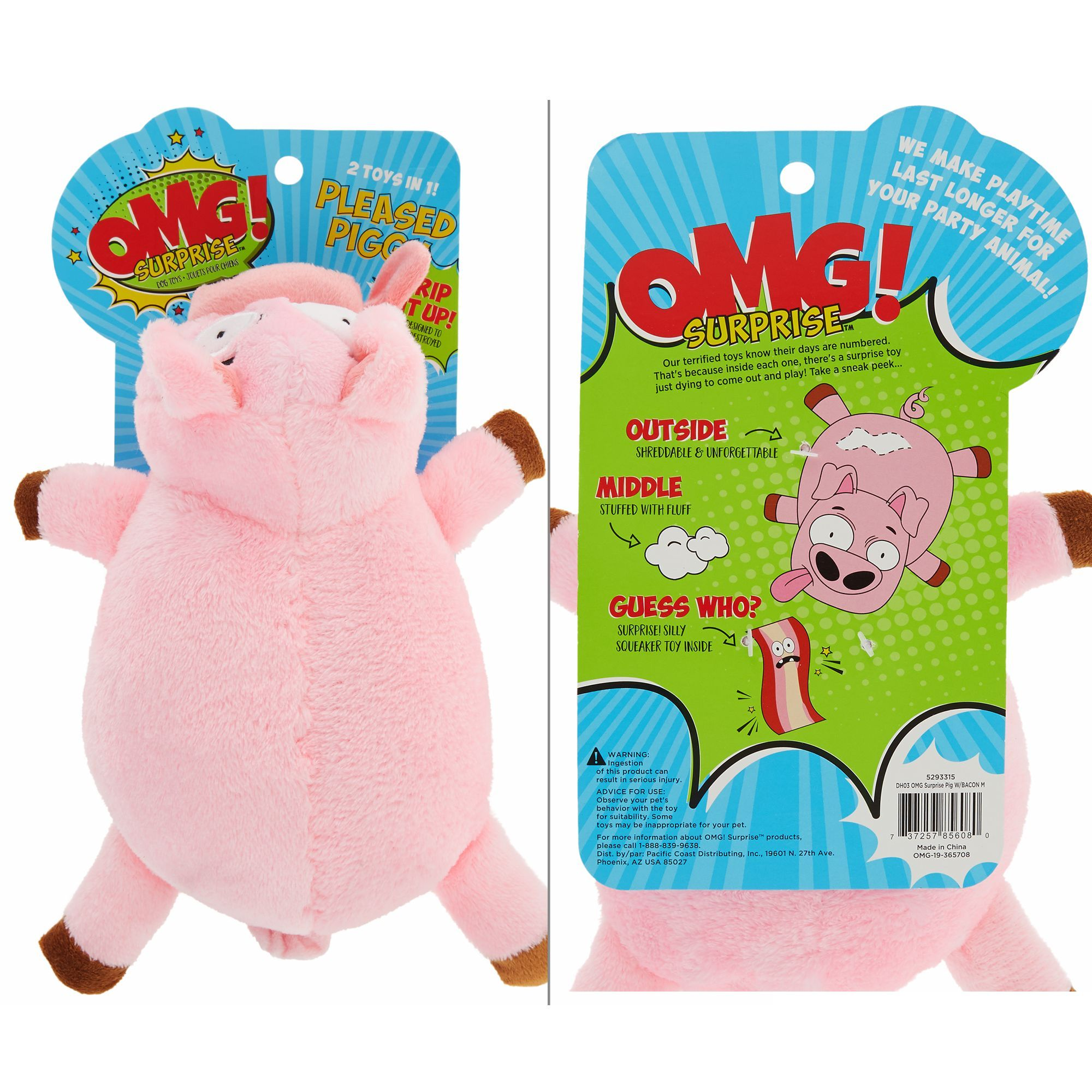 Omg Surprise Pleased Pig 2 In 1 Dog Toy Plush Squeaker Dog