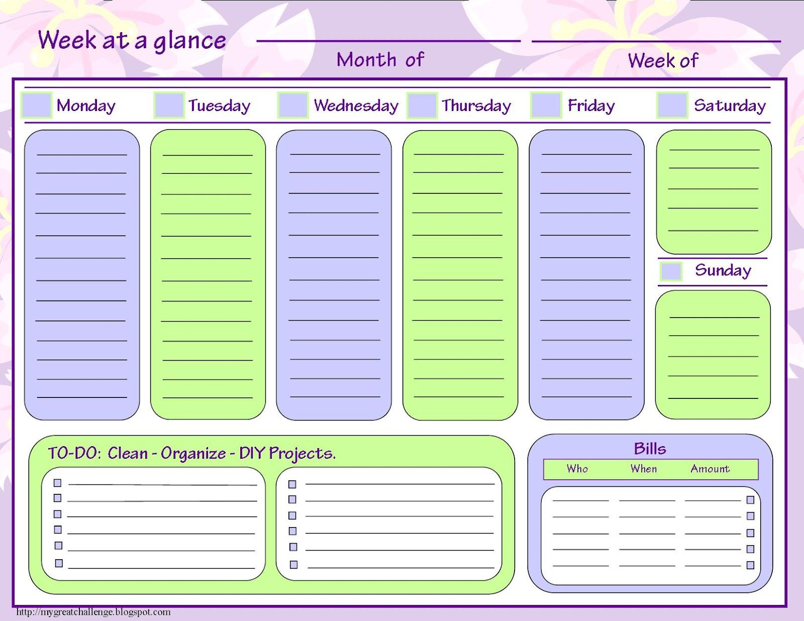 Free Dowloadable Week At A Glance Template With To Do List