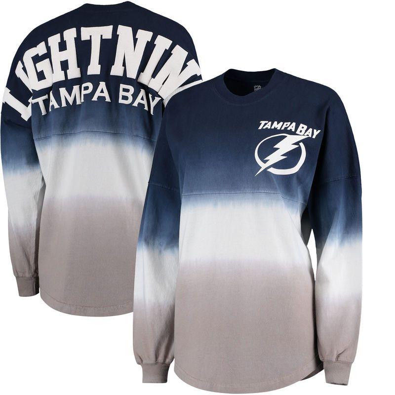 ec27774a Tampa Bay Lightning Fanatics Branded Women's Ombre Spirit Jersey Long  Sleeve Oversized T-Shirt - Blue/Gray