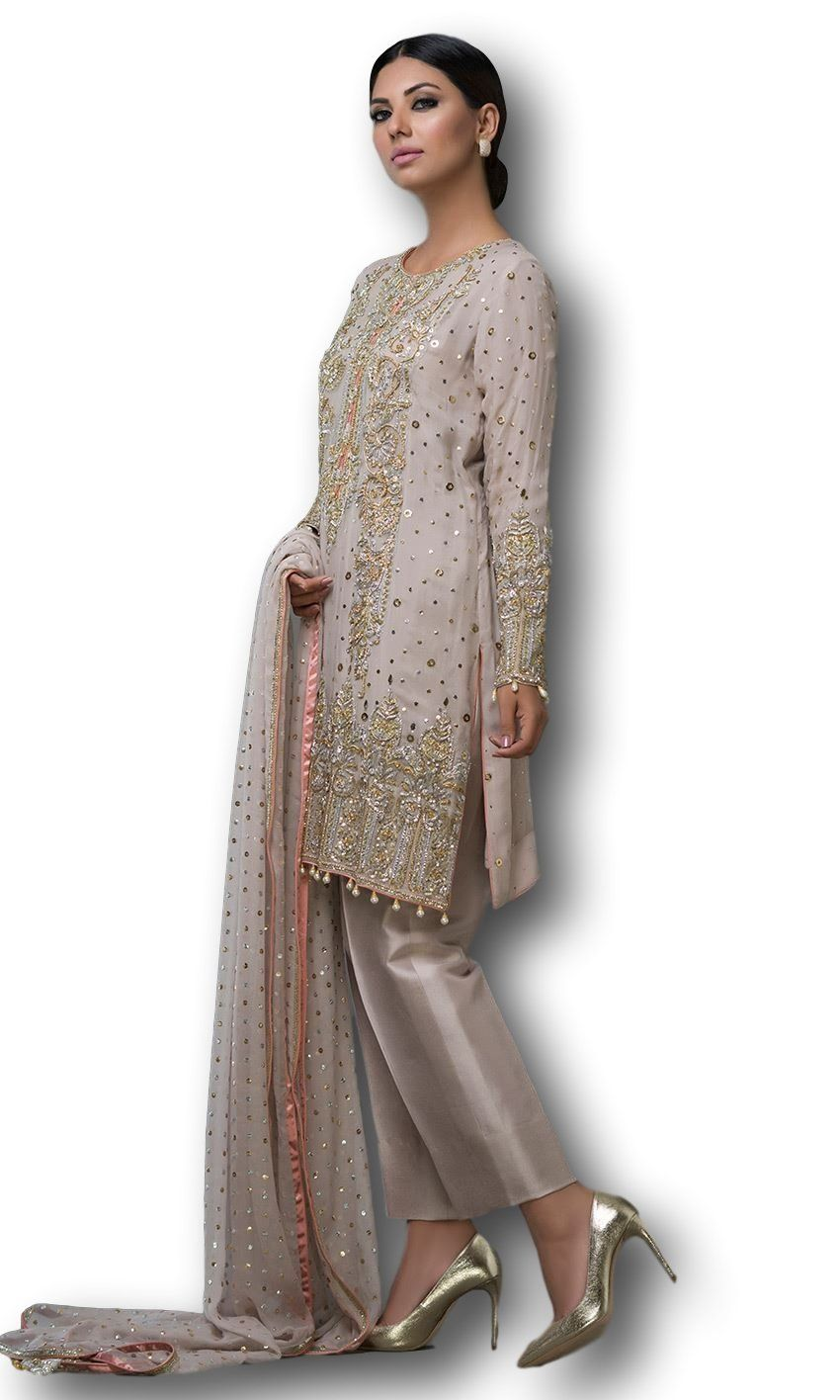 73243794e9 This salwar kameez is featured in georgette fabric. Shirt of this salwar  kameez is embellished
