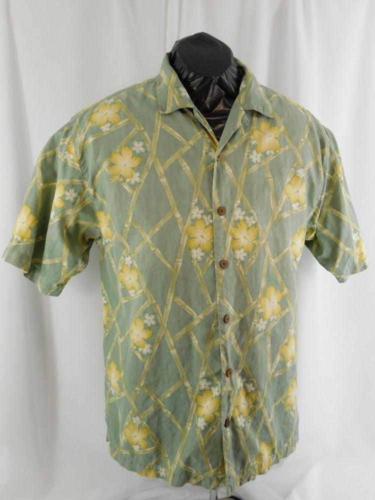 61568c63 Men's Tommy Bahama Medium 100% Silk Light Green Floral Print Hawaiian Shirt  #TommyBahama #Hawaiian
