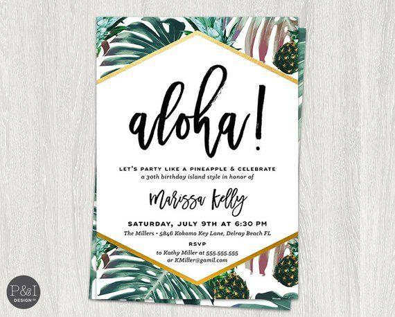 Photo of Aloha Luau Bursdagsfestinvitasjoner | Tropisk ananas palme bursdag | DIY | Tilpasset utskrivbar