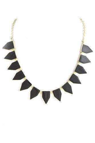 Glam Sexy Costume Jewelry Statement Necklace Gold Black Tab Necklace