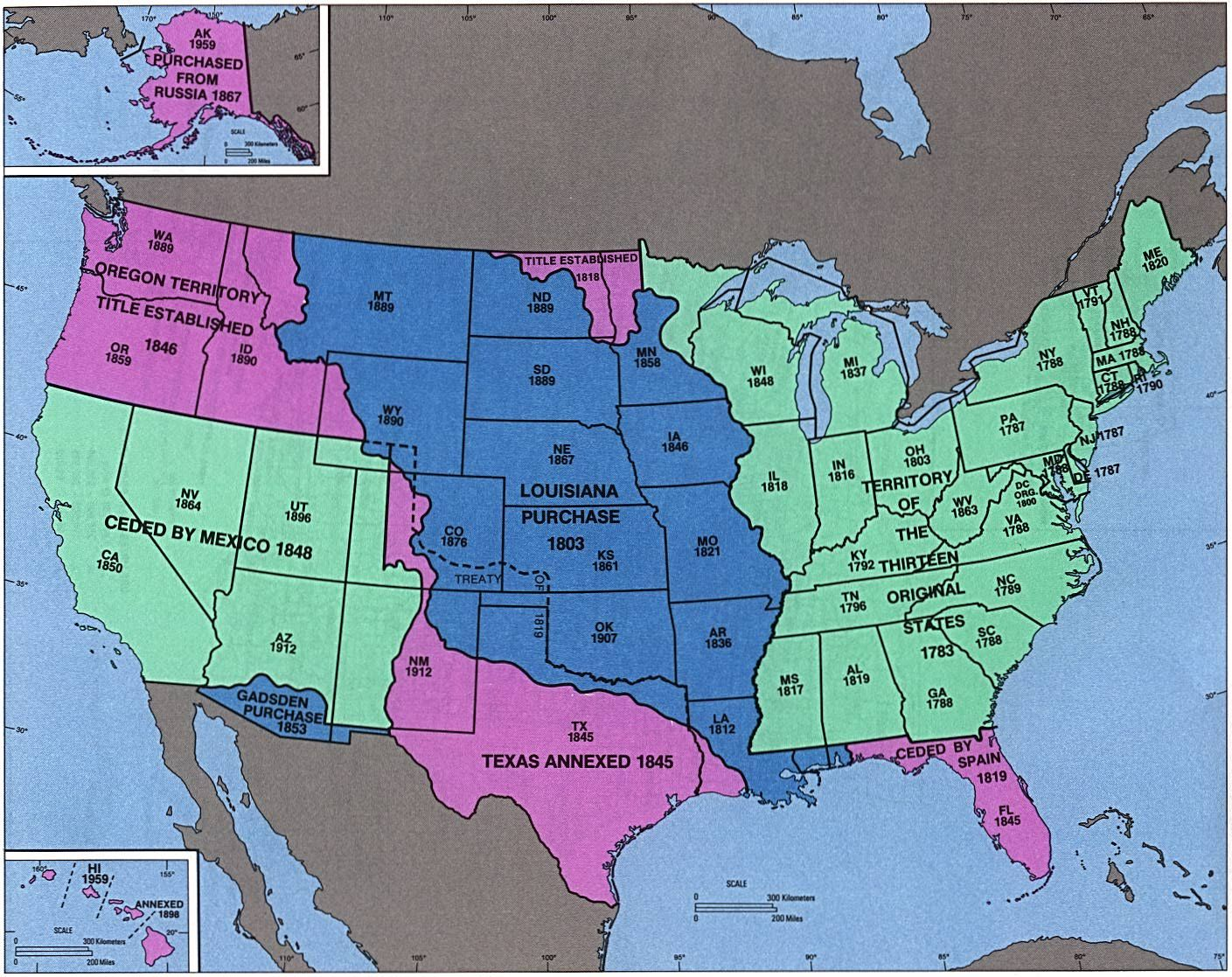 This Map Shows The Dates Of Statehood As Well As How They Were - Us paper map