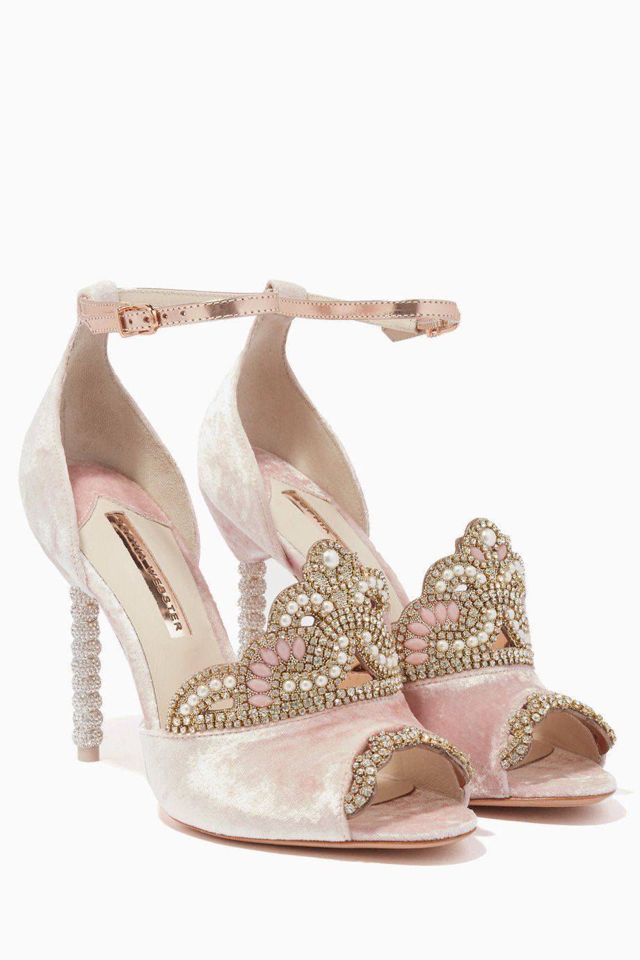 17db0094797b1 Shop Luxury Sophia Webster Pink Royalty Velvet & Crystal Tiara Sandals |  Ounass Kuwait