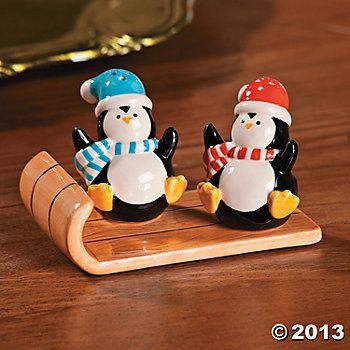 Penguin Salt Pepper Shakers On Sled Oriental Trading