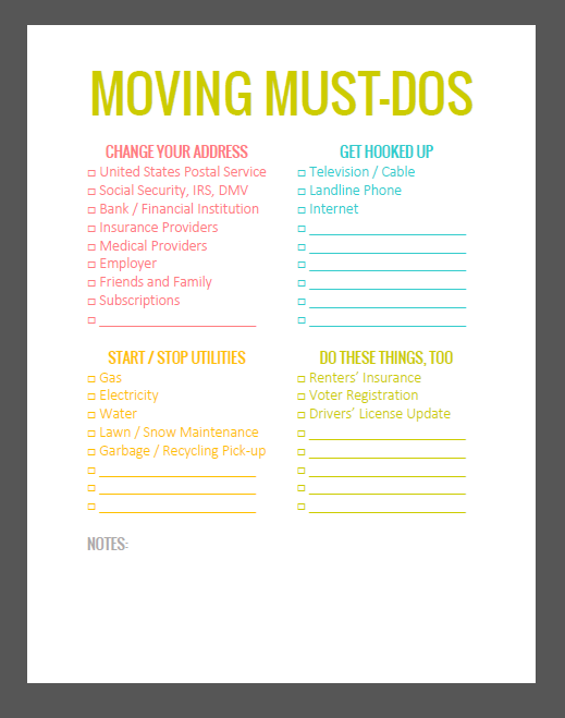 to do lists for moving