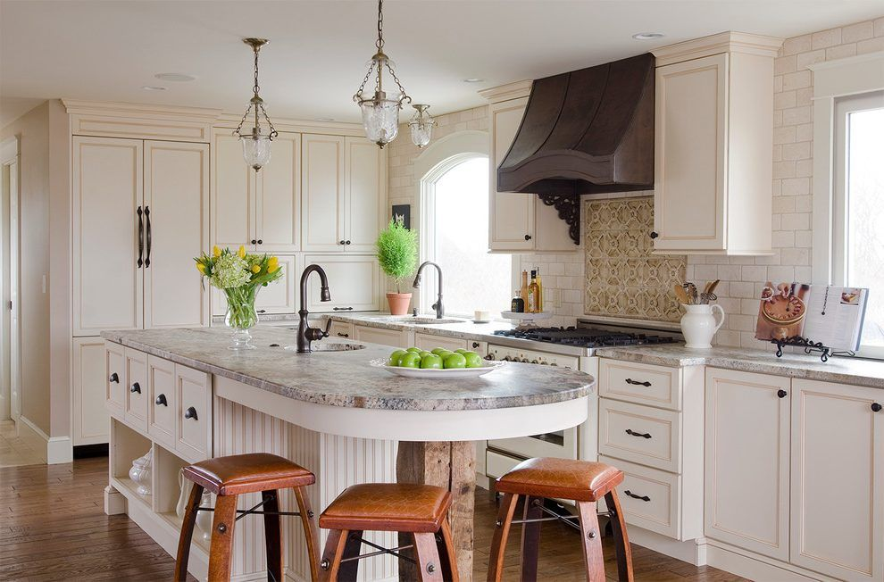 bombay round end kitchen traditional with white paneled ...