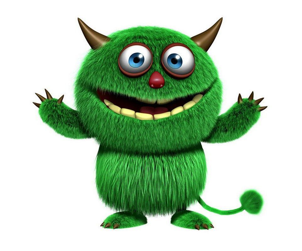Green Furry Monster Funny Pinterest