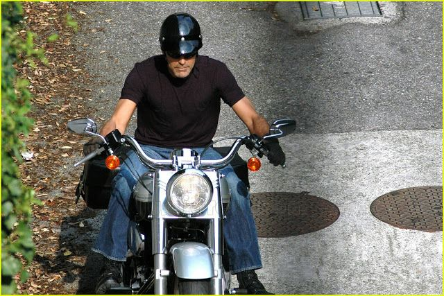George Clooney Despite a crash in '07, in which George broke a few ribs, he's still a two wheel fan and has been spotted most recently on his beloved Harley Davidson cruising the LA circuit.