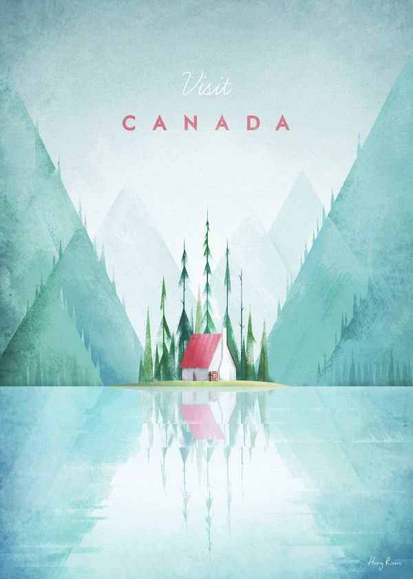 """Vintage Travel Posters Canada #Displate artwork by artist """"Henry Rivers"""". Part of a set…   Displate thumbnail"""