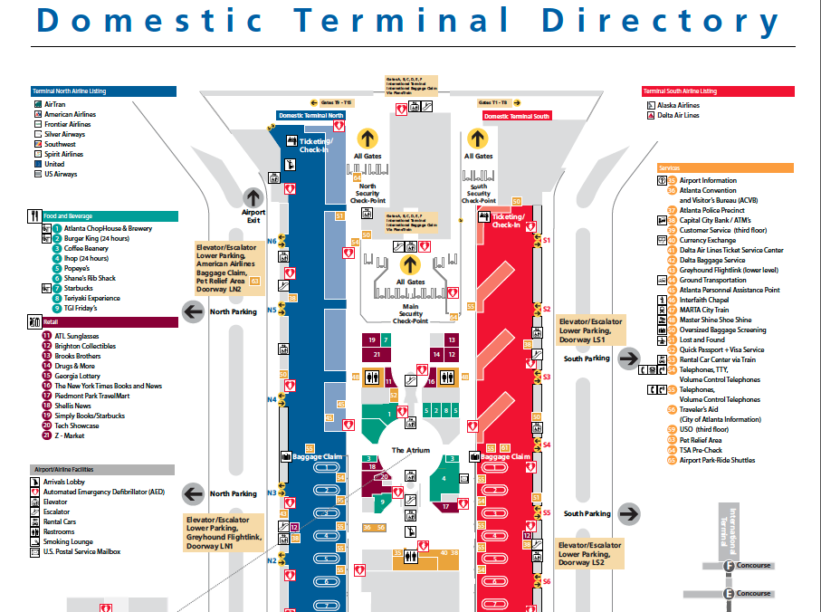 Map of Domestic Terminal at ATL airport Connect to MARTA train near