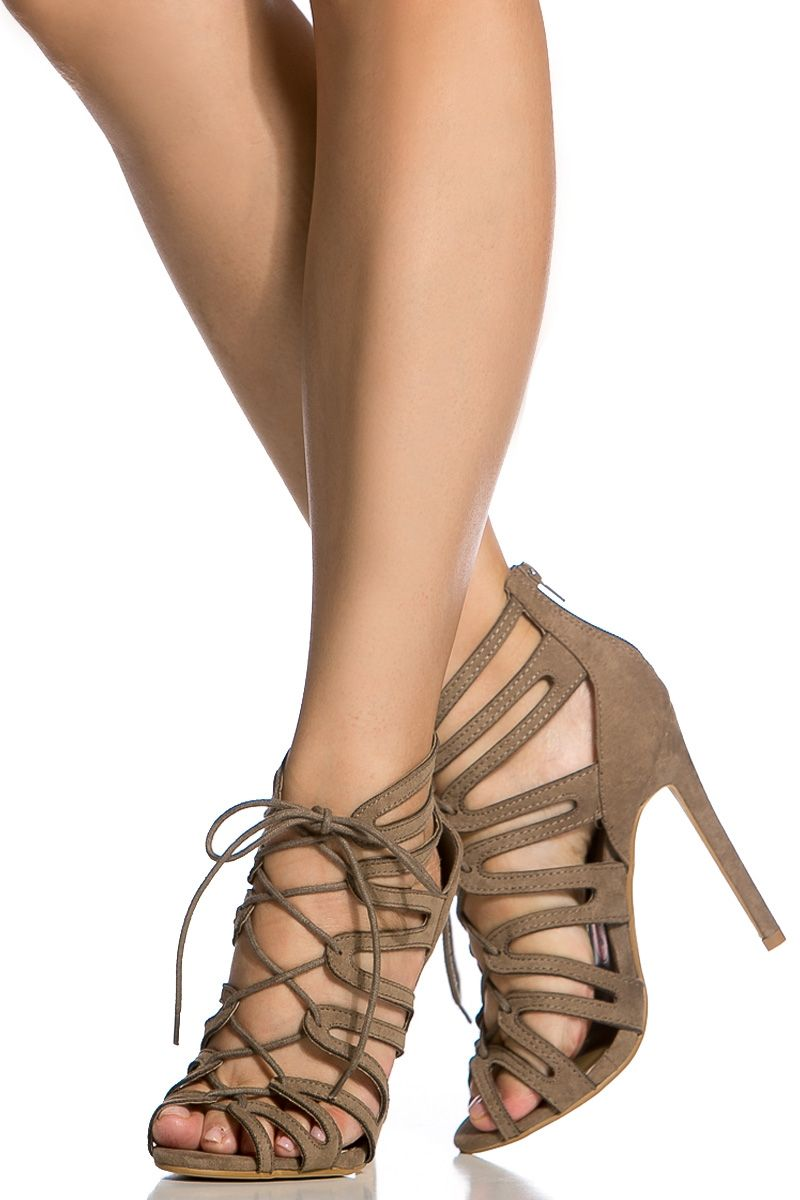 e6ee886a087b Taupe Faux Suede Cut Out Lace Up Heels   Cicihot Heel Shoes online store  sales Stiletto Heel Shoes