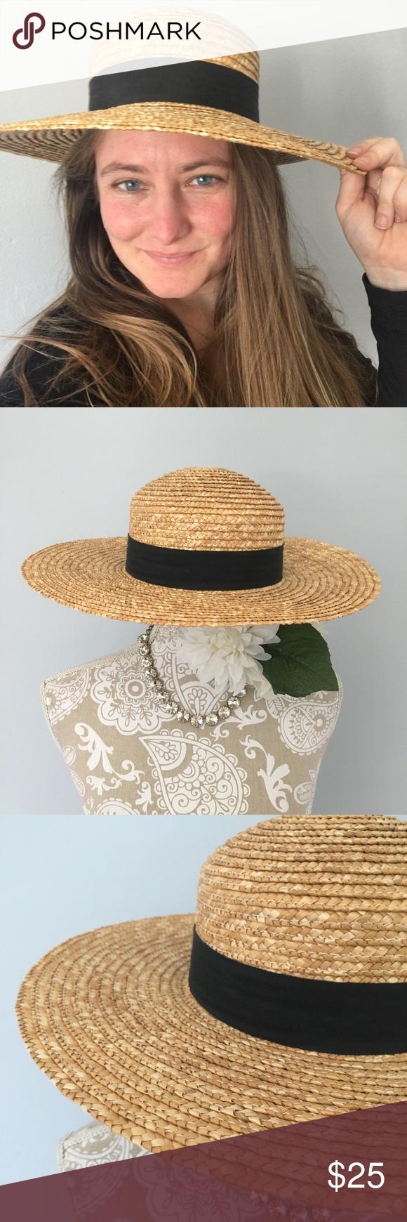 Round Straw Sun Hat With Black Bow Black Bow Large Brim Hat Sun Hats
