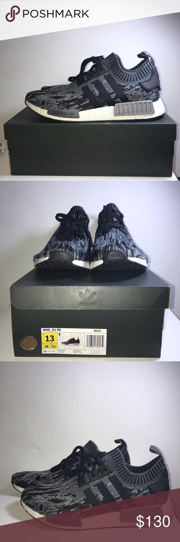 "2a9272c18 Adidas NMD R1 PK ""Grey Three"" Glitch Camo Sneaker 100% Authentic New With  Box"