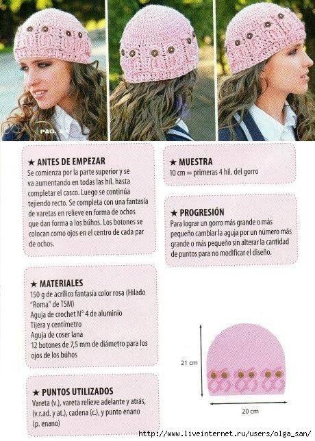 Instrucciones para Gorro de Búho   luna   Pinterest   Gorros