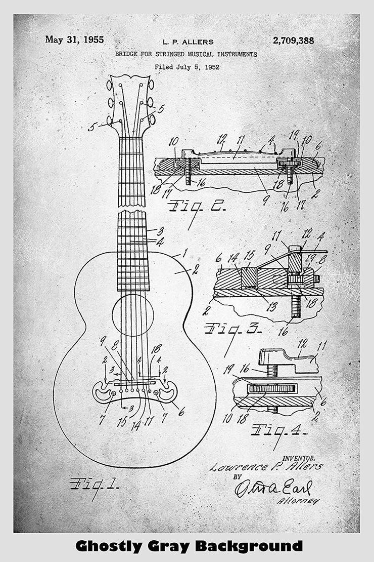 Gibson Guitar Bridge Patent Print Art Poster #gibsonguitars
