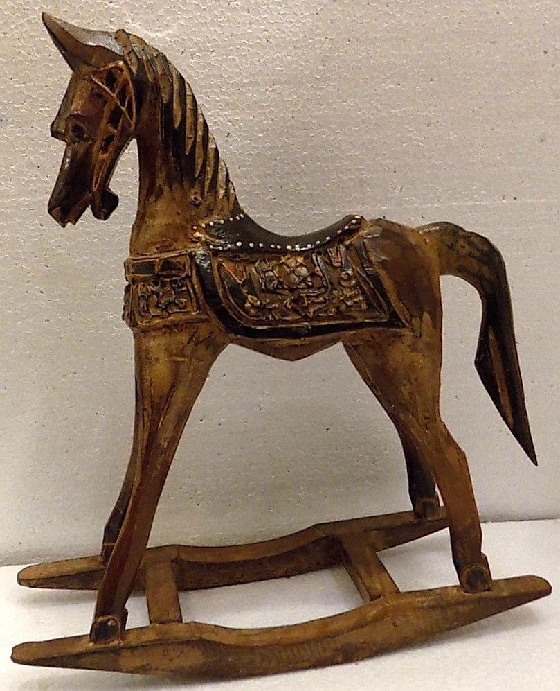 Cavallino in legno a dondolo piccolo Cavallo creato a mano