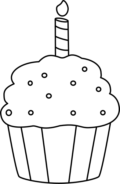 Black And White Birthday Cupcake Clip Art Black And White Birthday