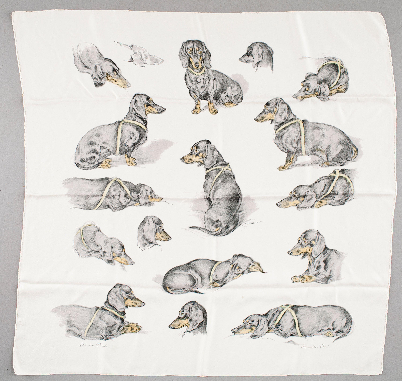 'Les Teckels' Dog scarfs, Scarf, Vintage silk scarf