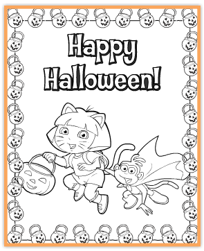 FREE Dora Printable Halloween Coloring Page