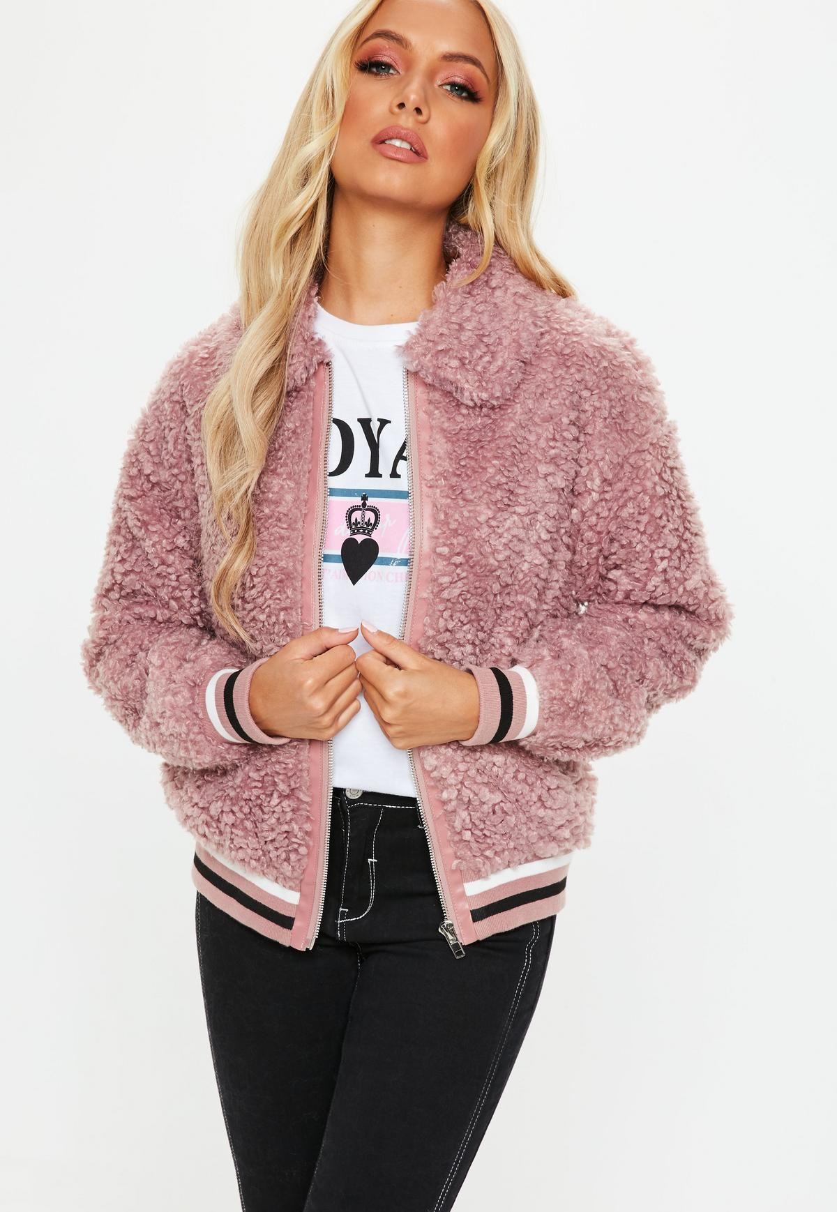 Pink Sports Rib Shaggy Jacket Coats jackets women