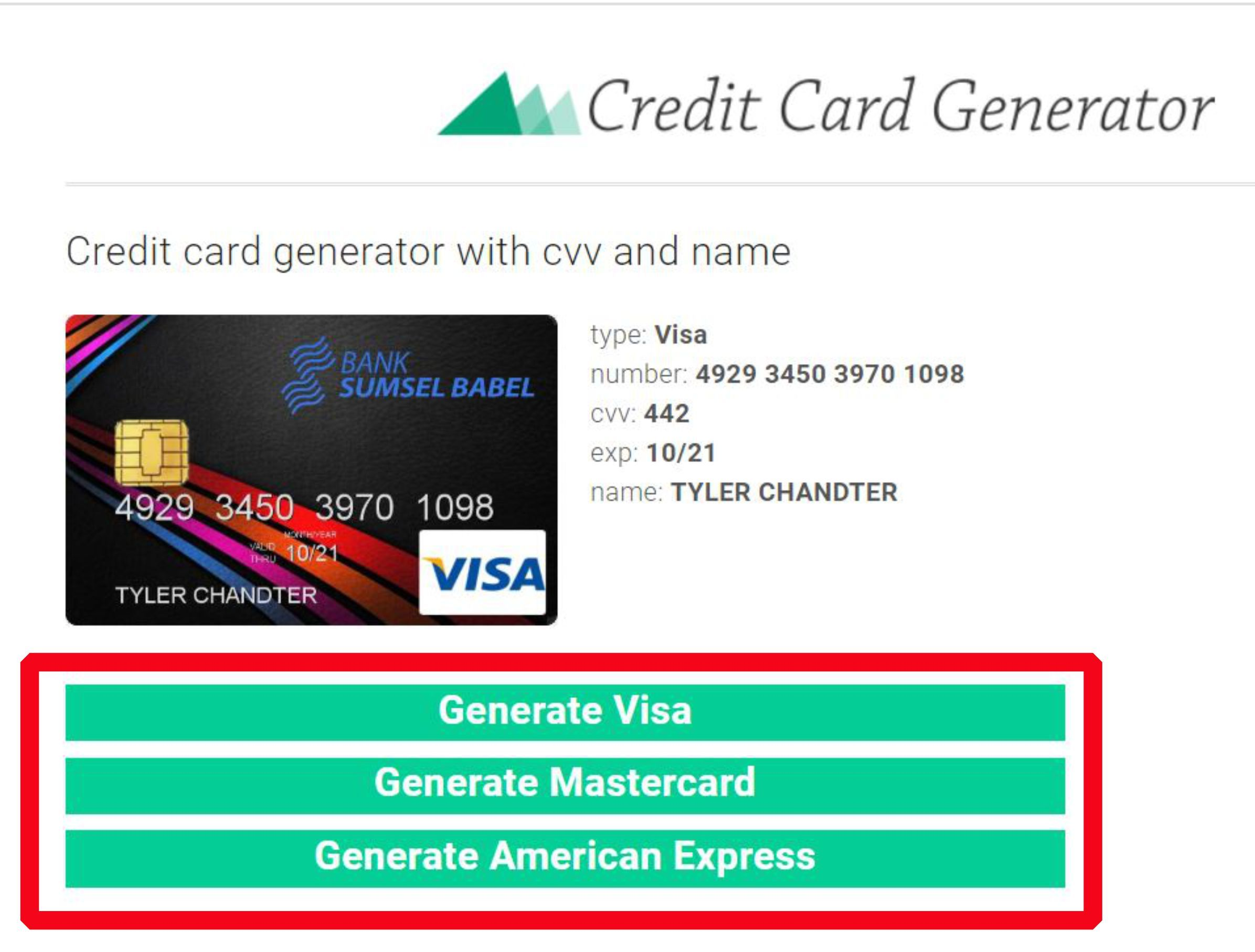How to use our credit card generator step1 credit card