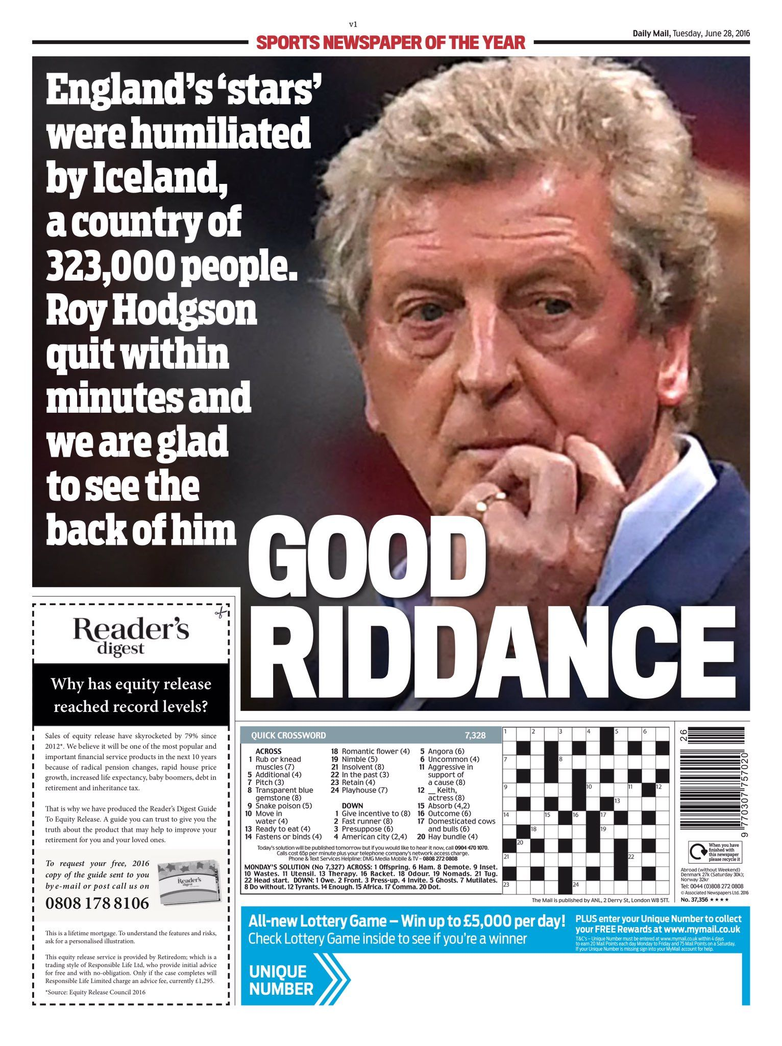 Tuesday's Daily Mail back page: Good Riddance #Tomorrowspaperstoday #bbcpapers #EURO2016 #ISL #eng https://t.co/Vtyp0KLsRh