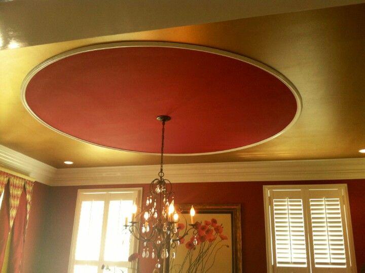 Lisa Kyle Designs   Red U0026 Gold Dining Room Ceiling W/moulding