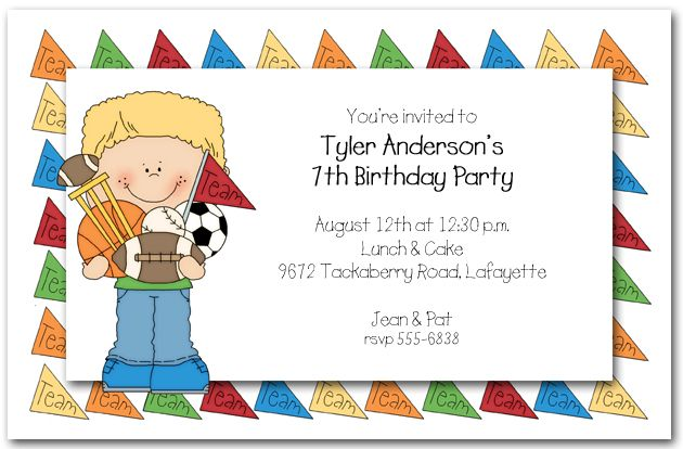 Kids Birthday Party Invitation My Birthday Pinterest – Boys Party Invitations