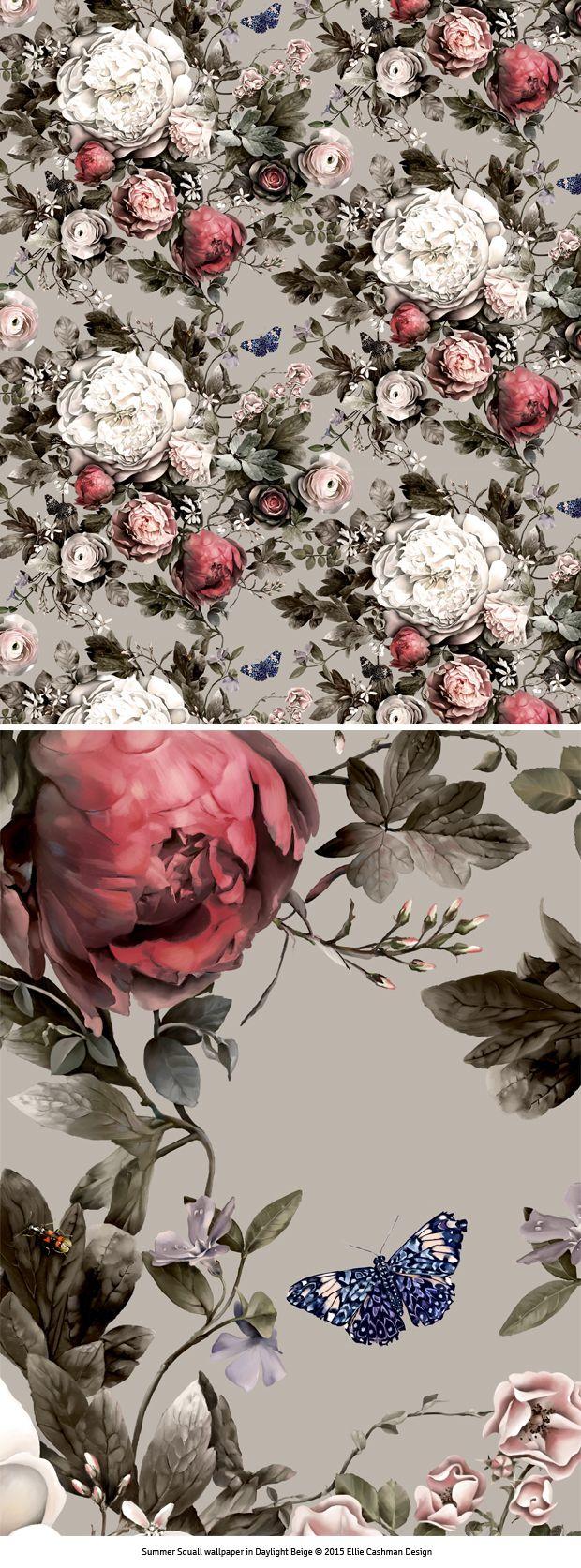 Black floral print wallpaper dark floral wallpaper by ellie cashman - Summer Squall Wallpaper And Fabric Design By Ellie Cashman Design