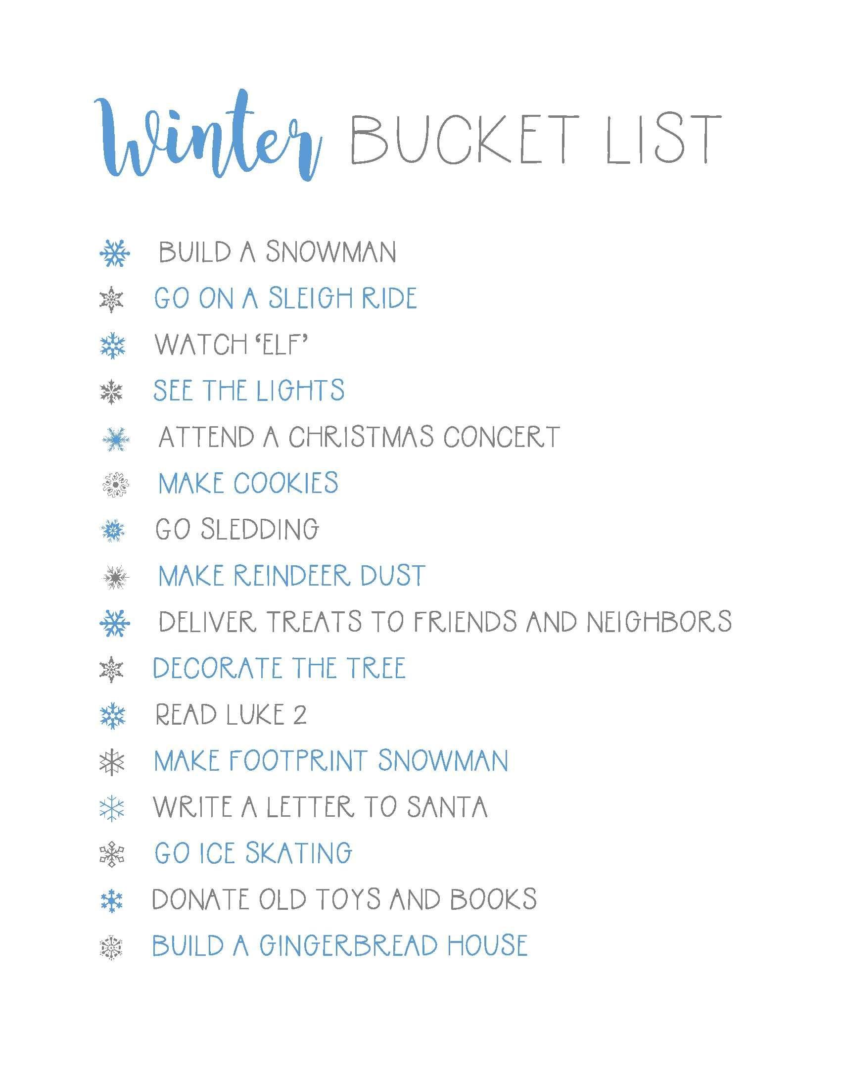 Winter Bucket List {plus a FREE printable #fallbucketlist