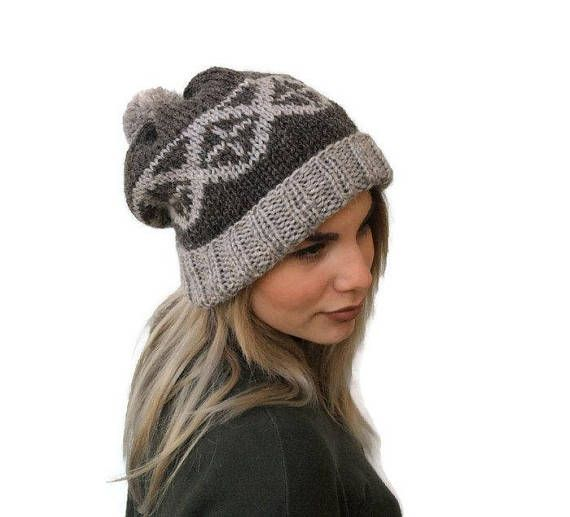 Knit Fair Isle Hat, knit pom pom hat, Women knit hat, Winter Hat
