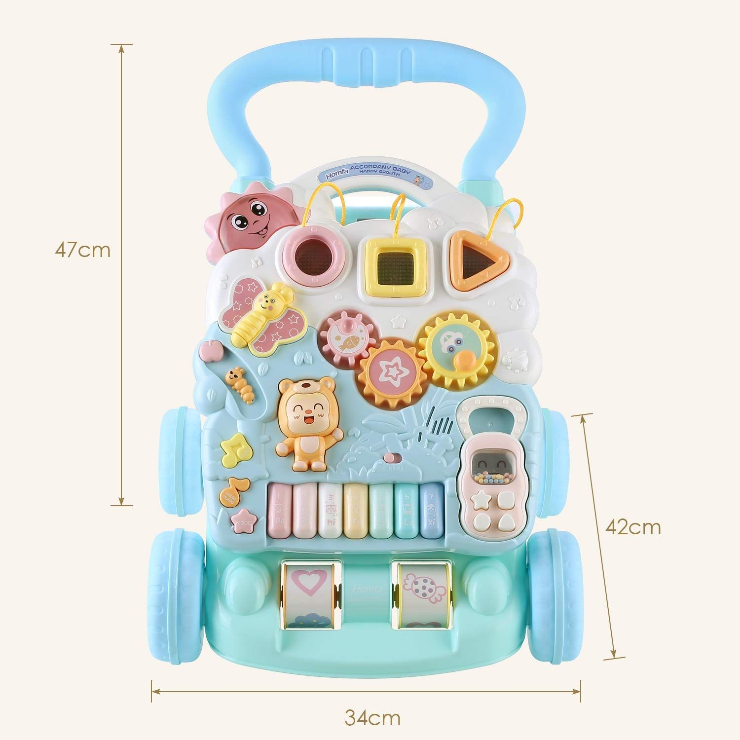 HOMFA Baby First Steps Walker Toys 2 in1 Baby Walker and