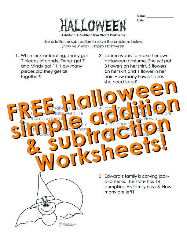 squarehead teachers halloween word problems addition subtraction free printable worksheet. Black Bedroom Furniture Sets. Home Design Ideas