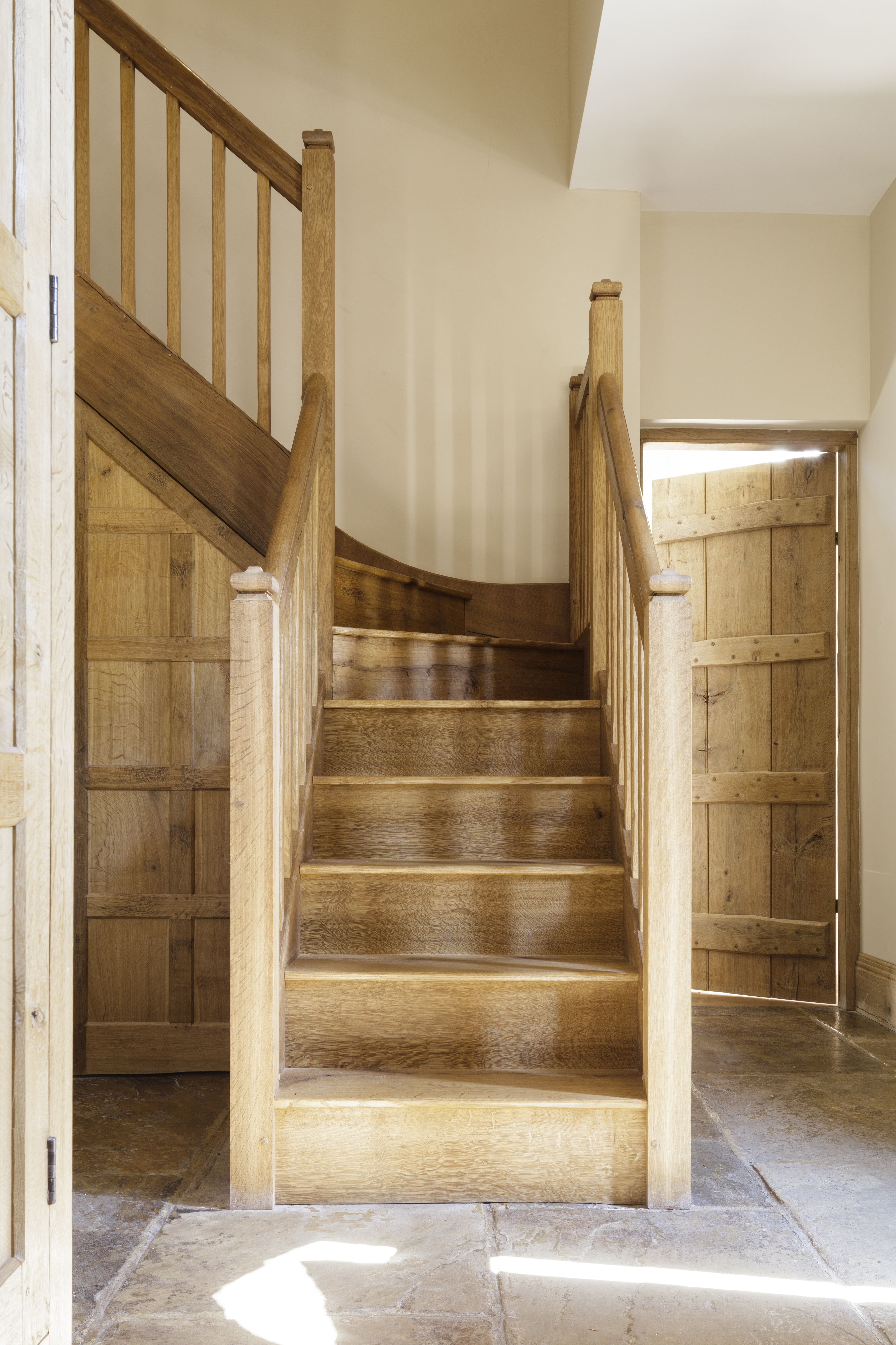 Oak Rustic Cottage Staircase With Plank And Batten Door And