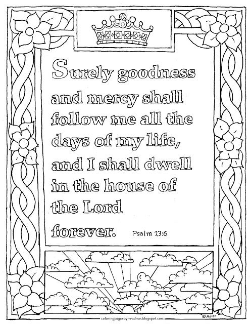 Coloring Pages For Kids By Mr Adron Printable Psalm 236 Page Goodness And Mercy Will Follow Me Verse