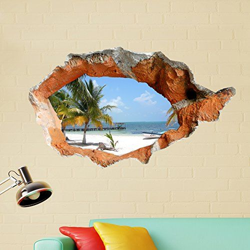 3D Beach Wall Decals 38 Inch Removable Sea Wall Art Stickers Home Decor ** To view further for this item, visit the image link.