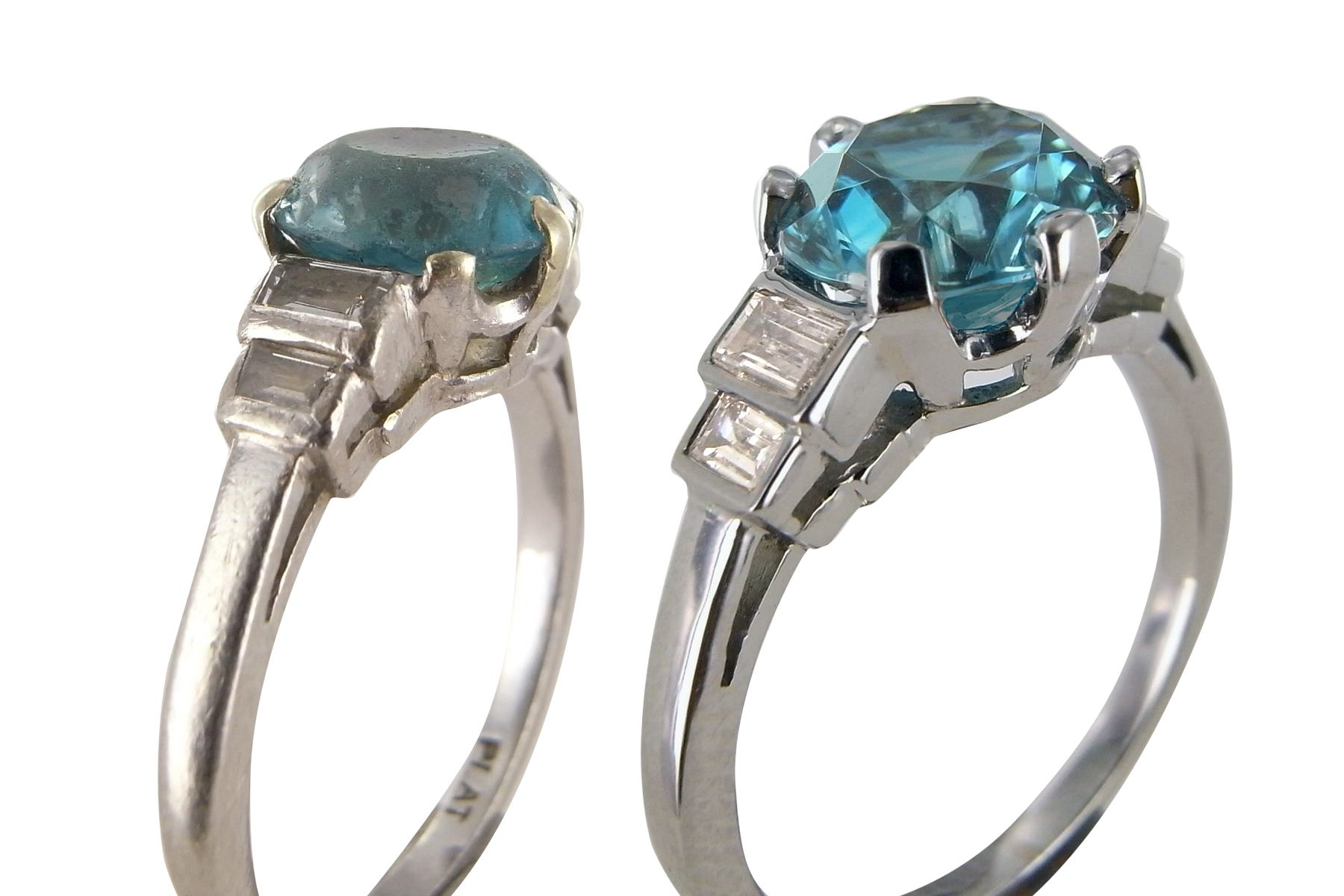 The head and settings were remade and the Zircon polished to make this ring look like new.