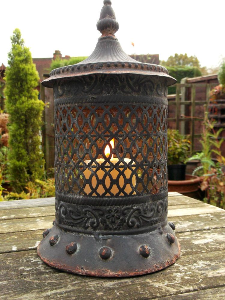 Vintage Moroccan Garden Lantern Candle Holder Floor Hanging Metal Lamp Patio NEW