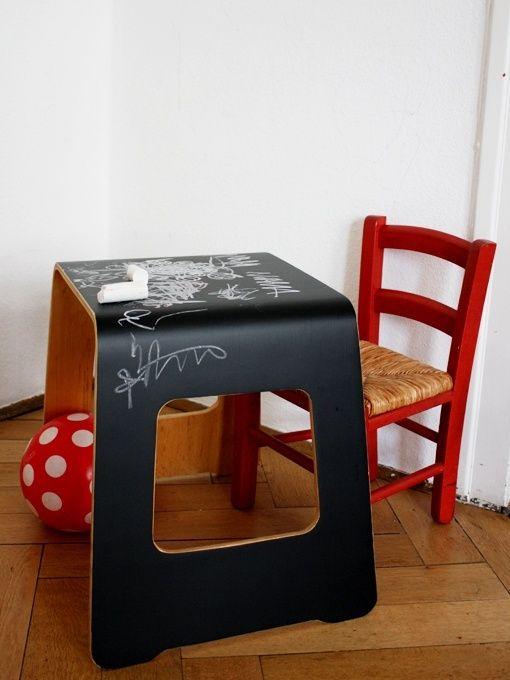 Mommo design 10 colorful ikea hacks chalkboard benjamin stool kids furniture and details - Lavagna fogli mobili ikea ...