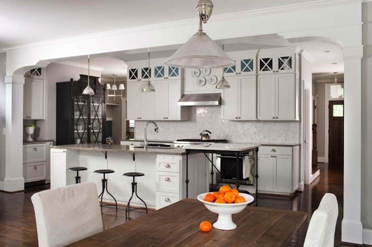 ...industrial Draftsman Stools, White Shaker Kitchen Cabinets With Gray  Quartz Countertops,