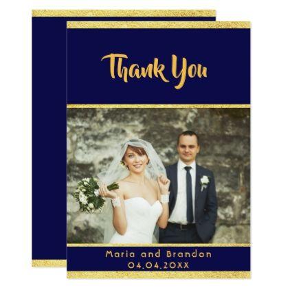 Thank You Wedding Photo Card Midnight Blue Midnight Blue Wedding