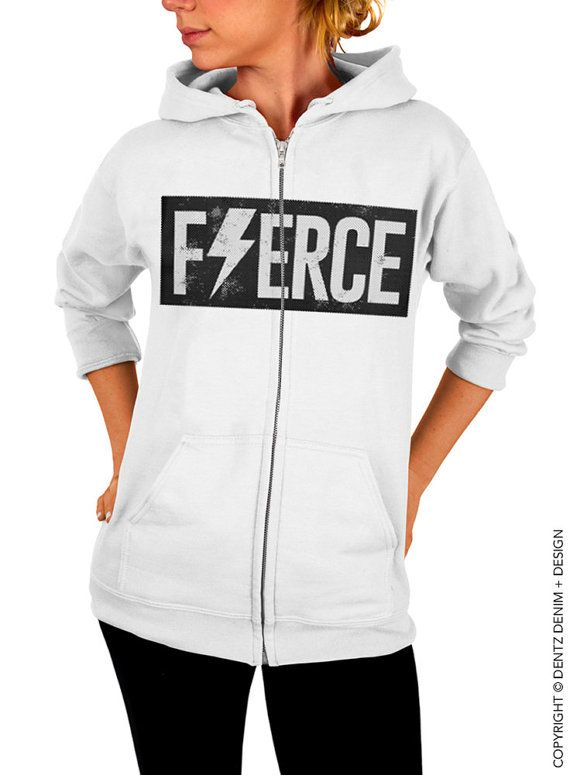 "Use coupon code ""pinterest"" Fierce - White Zip Up Hoodie by DentzDenim"
