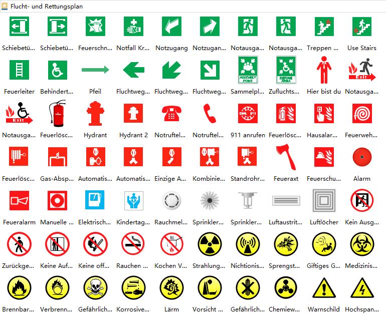 Flucht- und Rettungsplan Symbole | Grundriss Baupläne | Pinterest ...