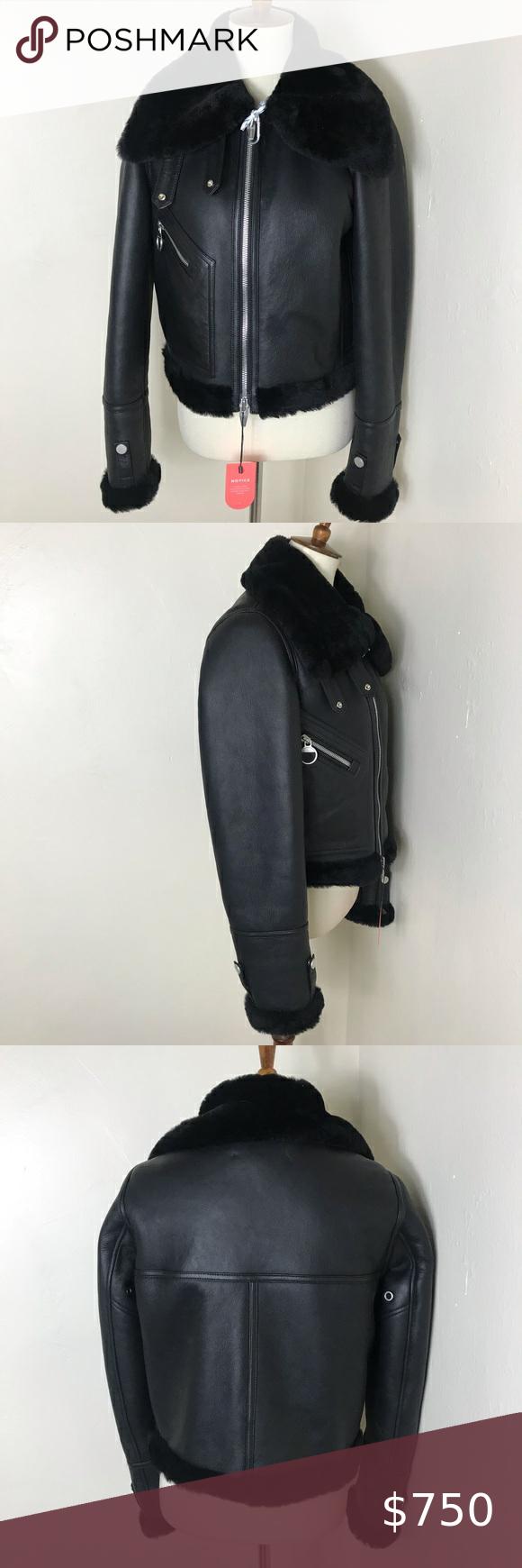 The Arrivals Moya Mini Shearling Leather Jacket Leather Jacket Shearling Shearling Coat [ 1740 x 580 Pixel ]