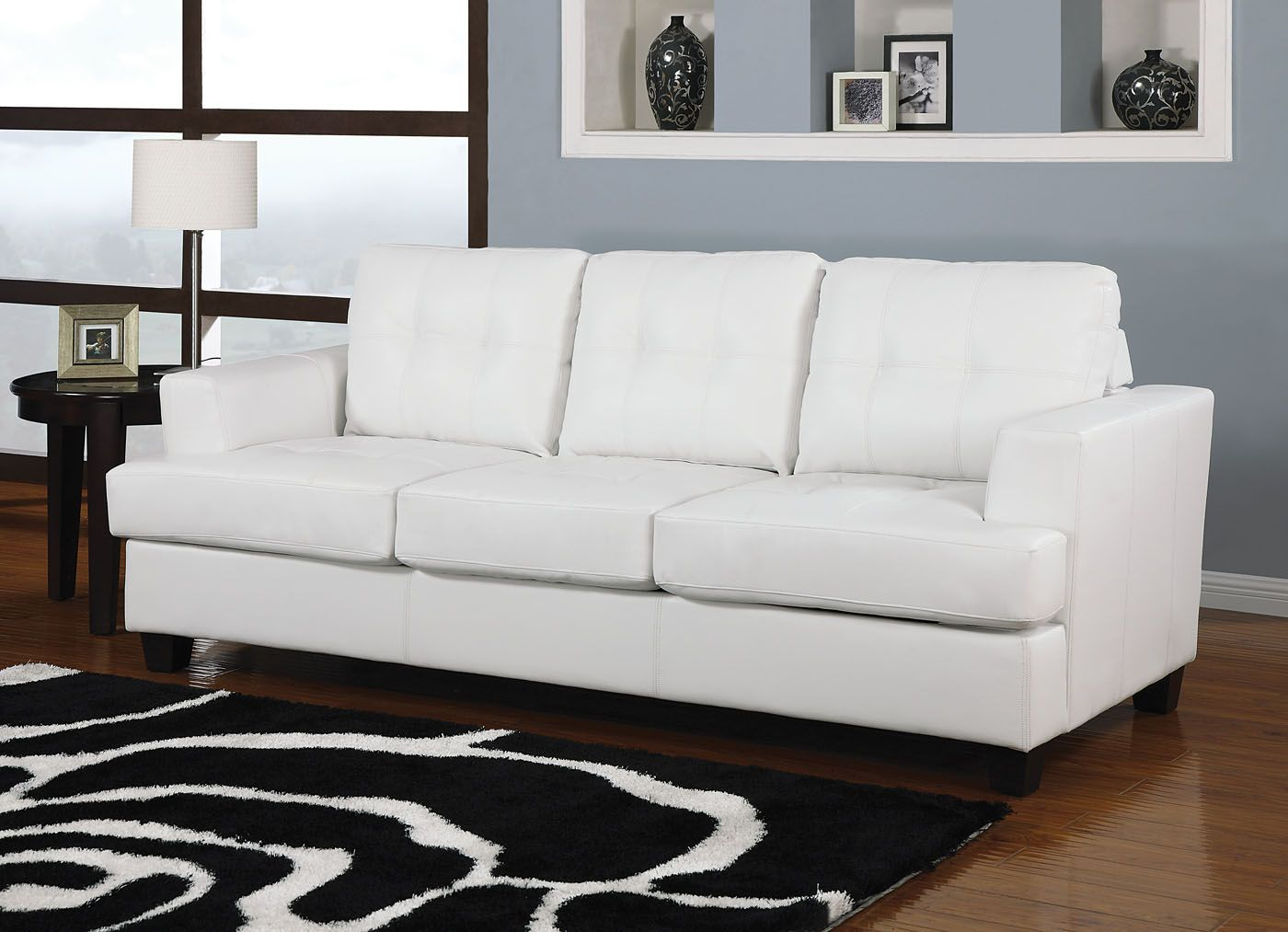Excellent Acme Diamond Bonded Leather Sofa Sleeper In White 15062 Dailytribune Chair Design For Home Dailytribuneorg